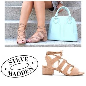 """NWOB STEVE MADDEN """"Kittyy"""" Lace-Up Suede Sandal"""